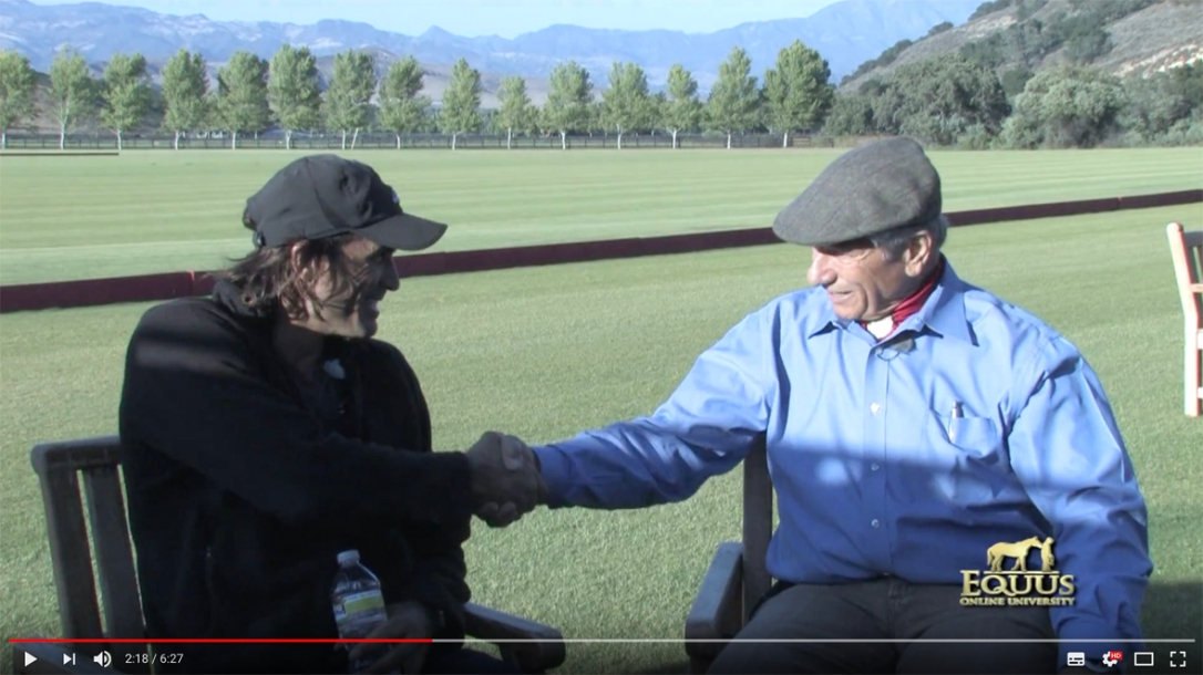 Cambiaso, Memo Gracideas, Carlos Gracidas talk to Monty Roberts about non-violent methods of starting horses